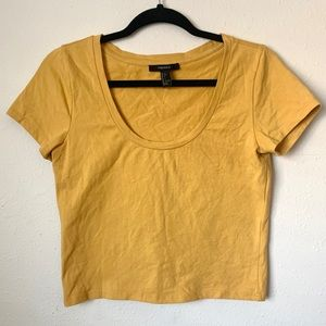 Forever 21 Mustard Yellow Solid Crop Top